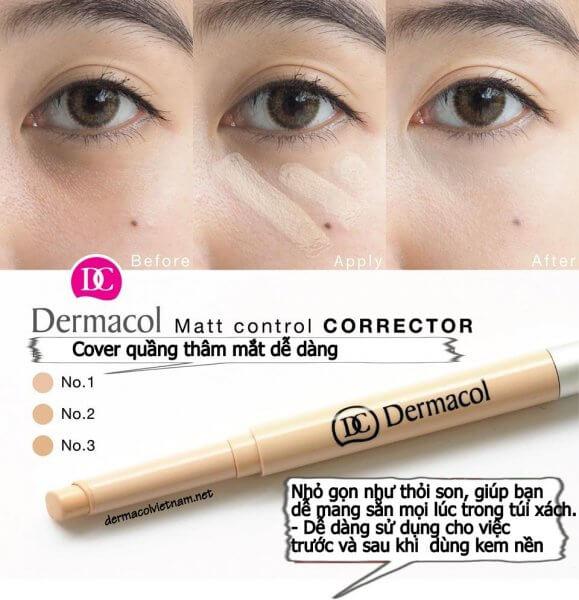 Bút Che Khuyết Điểm Dermacol Matt Control Make-up Corrector