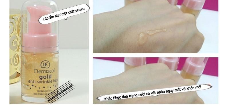 Kem lót chống lão hóa Dermacol Gold Anti-Wrinkle Base thu nhỏ lỗ chân lông