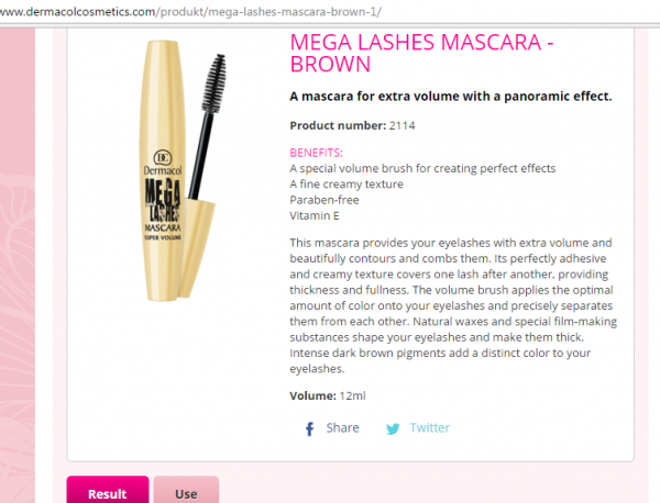 Mascara Làm Dài Mi Dermacol Mega Lashes Mascara   Brown
