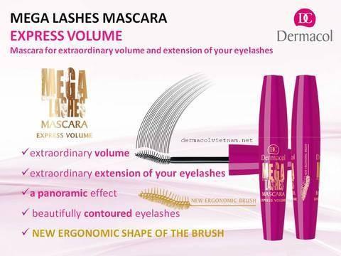 Mascara Làm Dày Mi Dermacol Mega Lashes Express Volume Mascara.